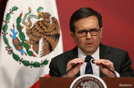 """Mexico's Economy Minister Ildefonso Guajardo delivers a speech during a """"Made in Mexico"""" event in Mexico City, Mexico, Feb. 1, 2017."""