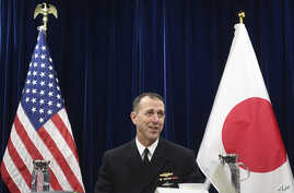 Chief of U.S. Naval Operations Adm. John Richardson talks to reporters on regional security issues in Tokyo, Japan, Jan. 18, 2019.