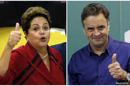 Presidential candidates President Dilma Rousseff (L) of the Workers' Party and Aecio Neves of the Brazilian Social Democracy Party gesturing to photographers after voting at their respective voting stations in Porto Alegre (L) and Belo Horizonte, Oct