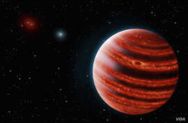 This artist's rendition shows 51 Eridani b, seen in the near-infrared light that shows the hot layers deep in its atmosphere glowing through clouds. (Credit: credits: Danielle Futselaar and Franck Marchis, SETI Institute)