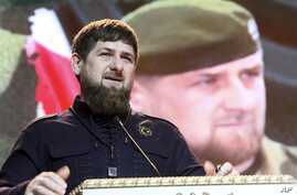 FILE - Chechen regional leader Ramzan Kadyrov speaks at celebrations marking Defenders of the Fatherland Day in Chechnya's provincial capital Grozny, Russia, Feb. 20, 2016.
