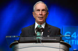 FILE - Former New York Mayor Michael Bloomberg speaks during the C40 cities awards ceremony, in Paris,Dec. 3, 2015.