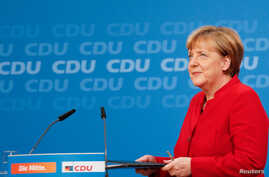 German Chancellor Angela Merkel addresses a news conference, to announce that she will run again for the Chancellorship in the next year general elections, at the Christian Democratic Union Party (CDU) headquarters in Berlin, Germany, Nov.  20, 2016.