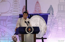 Philippine President Rodrigo Duterte speaks during the Philippines' ASEAN Chairmanship launch at SMX Convention Center in Davao city, southern Philippines, Jan. 15, 2017.