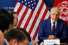 U.S. special envoy for peace in Afghanistan, Zalmay Khalilzad, talks with local reporters at the U.S. embassy in Kabul, Afghanistan, Nov. 18, 2018.