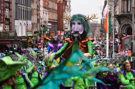 A float is seen during the St. Patrick's day parade in Dublin, Ireland, March 17, 2017.