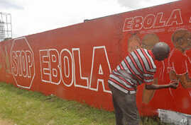 A local Liberian artist paints a mural forming part of the country's fight against the deadly Ebola virus by education in the city of Monrovia, Liberia, Sept. 23, 2014.