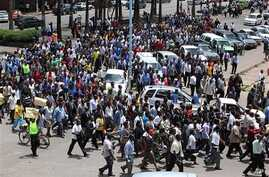 Zimbabwean Civil Servants march through the streets of Harare (File Photo).