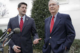 FILE - House Speaker Paul Ryan of Wisconsin, right, and Senate Majority Leader Mitch McConnell of Kentucky meet with reporters outside the White House in Washington after meeting with President Donald Trump. The two leaders are confronting open rebel...