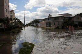 Flooded streets are seen after Hurricane Matthew hit near Jacksonville Beach, Florida, Oct. 8, 2016.
