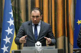 FILE - Bosnia's Foreign Minister Igor Crnadak speaks to the media during a press conference, March 7, 2016.