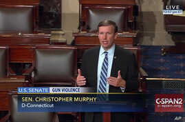 """This frame grab provided by C-SPAN shows Sen. Chris Murphy, D-Conn. """"seized the floor"""" of the Senate on Capitol Hill in Washington, where he was demanding a vote on gun control measures, June 15, 2016."""