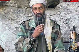 This image made from video broadcast on Sunday, Oct. 7, 2001 shows Osama bin Laden at an undisclosed location. Al-Qaida leader Osama bin Laden threatened in a new audio tape to kill French citizens to avenge their country's support for the U.S.-led w