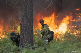 Firefighter Keith McMillen (R) keeps watch over a controlled burn while battling the Carlton Complex Fire near Winthrop, Washington, July 19, 2014.