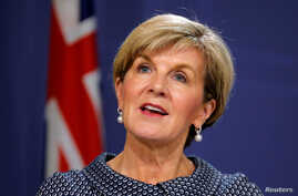 FILE - Australian Foreign Minister Julie Bishop speaks at a joint press conference with New Zealand's Foreign Minister Gerry Brownlee in Sydney, Australia, May 4, 2017.