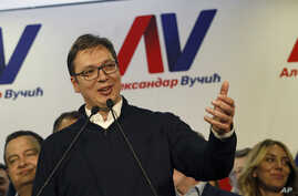 Serbian Prime Minister and presidential candidate Aleksandar Vucic speaks during a press conference after claiming victory in the presidential election, in Belgrade, Serbia, April 2, 2017.