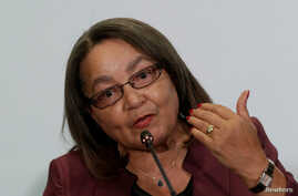 Cape Town Mayor Patricia De Lille speaks to the media during a news conference at the C40 Mayors Summit in Mexico City, Dec. 2, 2016.