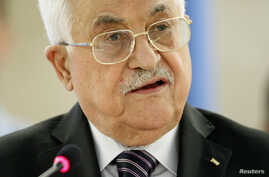 Palestinian President Mahmoud Abbas addresses the special meeting of Human Rights Council at the United Nations European headquarters in Geneva, Switzerland, Oct. 28, 2015.