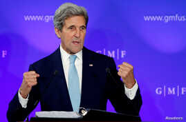 U.S. Secretary of State John Kerry delivers a speech on the transatlantic relationship at the Concert Noble in Brussels, Belgium, Oct. 4, 2016.