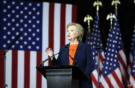 Democratic presidential candidate Hillary Clinton gives an address on national security, in San Diego, California, June 2, 2016.