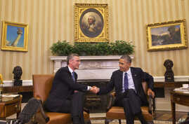 President Barack Obama shakes hands with NATO Secretary General Jens Stoltenberg during their meeting in the Oval Office of the White House in Washington, Monday, April 4, 2016.
