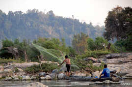 A fisherman casts his net near Don Sahong. The Laos government is planning a $600 million dam for the area but has been reluctant to reveal details surrounding the proposal and the impact it will have on fish migration and fish stocks. (Luke Hunt for...