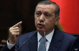 Turkish Prime Minister Recep Tayyip Erdogan addresses his lawmakers in Ankara, Turkey, Feb. 25, 2014.