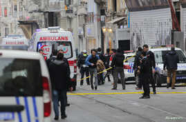 Police secure the area following a suicide bombing in a major shopping and tourist district in central Istanbul, March 19, 2016.