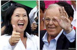 A combination file photo shows Peru's presidential candidates (L-R) Keiko Fujimori after voting and Pedro Pablo Kuczynski arriving to vote, during the presidential election in Lima, Peru, in these April 10, 2016 file photos.