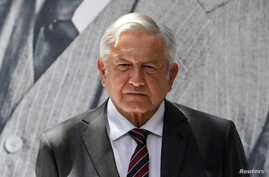 Mexico's president-elect Andres Manuel Lopez Obrador looks on during a news conference in Mexico City, Mexico, Aug. 24, 2018.