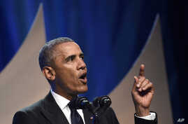 President Barack Obama speaks at the Congressional Black Caucus Foundation's 44th Annual Legislative Conference Phoenix Awards Dinner in Washington, Sept. 27, 2014.