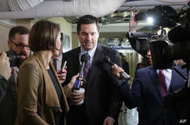 House Intelligence Committee Chairman Rep. Devin Nunes, R-Calif. is pursued by reporters as he arrives for a weekly meeting of the Republican Conference with House Speaker Paul Ryan and the GOP leadership, March 28, 2017, on Capitol Hill in Washingto
