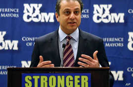 FILE - U.S. Attorney Preet Bharara speaks at the New York State Conference of Mayors and Municipal Officials on Monday, Feb. 8, 2016, in Albany, New York. Bharara lit up Turkey's Twittersphere when he tweeted that a controversial Iranian-Turkish nati