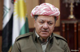 FILE - Kurdish Regional Government President Massoud Barzani conducts an interview in Irbil, Iraq.