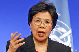 FILE World Health Organization Director-General Margaret Chan delivers her speech during a conference in Lyon, central France on March 23, 2016.