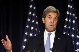 FILE - Secretary of State John Kerry speaks in New York. Kerry is threatening to cut off all contacts with Moscow over Syria, unless Russian and Syrian government attacks on Aleppo end.