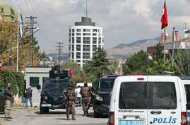 Armed forces near the scene outside the Israeli embassy in Ankara, Turkey where a solo attacker was shot and wounded, Sept. 21, 2016.