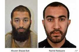 This undated handout photo provided by the Metropolitan Police shows Khuram Shazad Butt and Rachid Redouane.