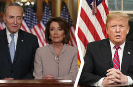 Senate Minority Leader Chuck Schumer, left, Speaker of the House Nancy Pelosi, center, and President Donald Trump are seen in this composite image.