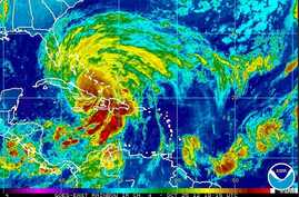 Hurricane Sandy's location in the Caribbean, October 25, 2012 (NOAA satellite image)