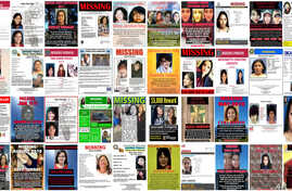 This combination of images from various law enforcement agencies and organizations shows posters of missing and slain Native American women and girls as of September 2018. No one knows precisely how many there are because authorities don't have relia