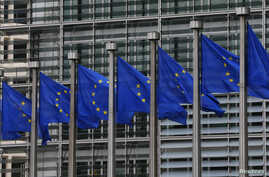 European Union flags are seen outside the European Commission headquarters in Brussels, Sept. 10, 2014.
