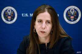 Sigal Mandelker, US Treasury Under Secretary for Terrorism and Financial Intelligence, addresses a press conference in Kampala, Uganda, as she visits east Africa, June 11, 2018.