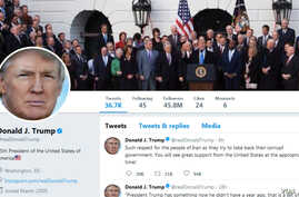 A screenshot shows a fragment of the masthead of U.S. President Donald Trump's Twitter account, in Washington, Jan. 3, 2018.