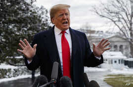 President Donald Trump talks with reporters on the South Lawn of the White House before departing for the American Farm Bureau Federation's 100th Annual Convention in New Orleans, Jan. 14, 2019, in Washington.