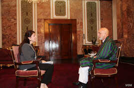 VOA Pashto host Shaista Sadat conducts an exclusive interview with President Hamid Karzai at the Presidential Palace in Kabul.
