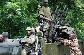 Members of Pro-Ouattara forces in Duekoue, western Ivory Coast,  March 29, 2011