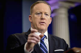 White House press secretary Sean Spicer talks to the media during the daily press briefing at the White House in Washington, April 10, 2017.