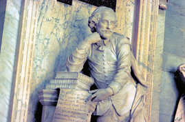 FILE - Photo provided by VisitBritain shows a monument to William Shakespeare at Westminster Abbey in London.