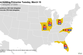 Delegates at stake on Tuesday, March 15